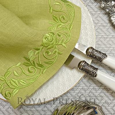 Дизайн машинной вышивки Цветочный бордюр с розами