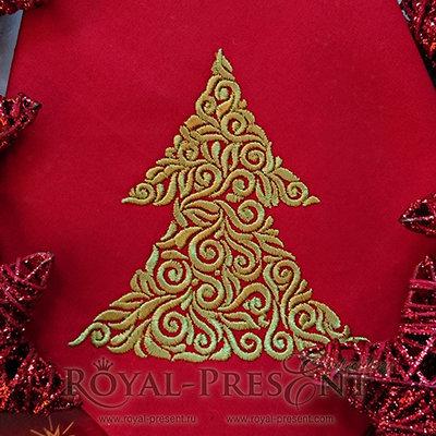 Дизайн машинной вышивки Новогодняя елочка