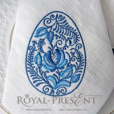 Пасхальное яйцо Гжель Дизайн машинной вышивки