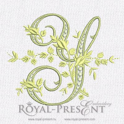 Дизайн машинной вышивки - Монограмма винтажная буква Y