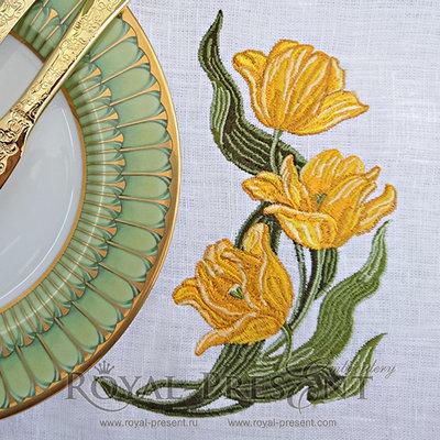 Дизайн для машинной вышивки Желтые Тюльпаны