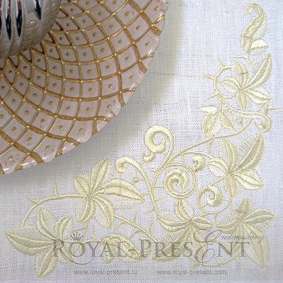 Дизайн машинной вышивки Угловой бордюр из листьев
