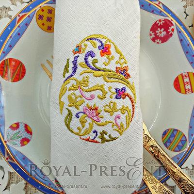 Дизайн машинной вышивки Пасхальное яйцо с бабочками