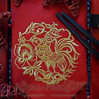 Петух в китайском стиле Дизайн машинной вышивки