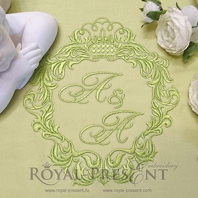 Дизайн вышивки Обрамление для монограммы с короной