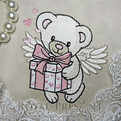 Дизайн машинной вышивки Мишка ангел - 2 размера