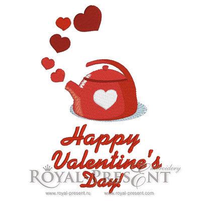 Дизайн машинной вышивки С Днем Святого Валентина!