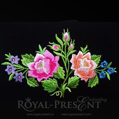 Дизайн машинной вышивки Розовый куст Польский фольклор - 2 размера
