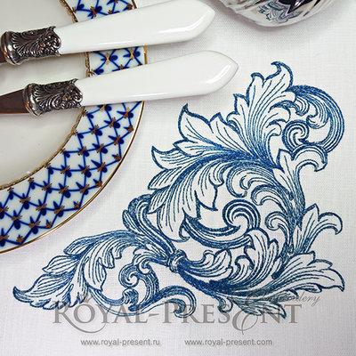 Дизайн машинной вышивки Угловой элемент в стиле барокко