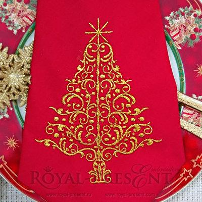 Дизайн машинной вышивки Новогодняя елочка - 3 размера