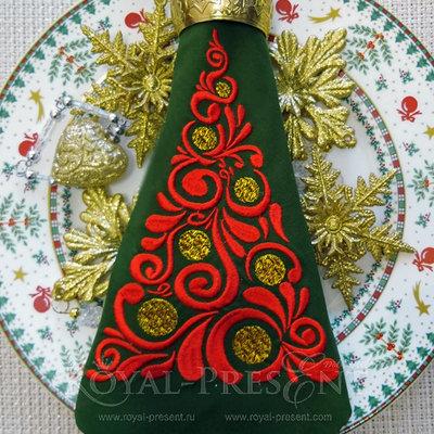 Дизайн машинной вышивки Орнаментальная новогодняя ель - 3 размера