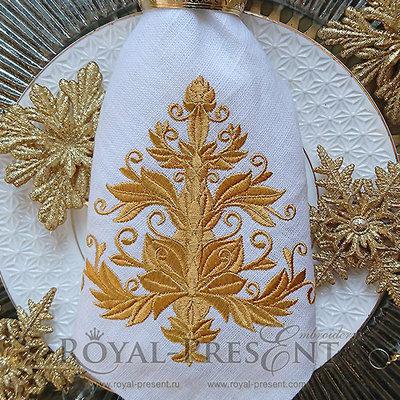 Дизайн машинной вышивки Золотая ель - 2 размера