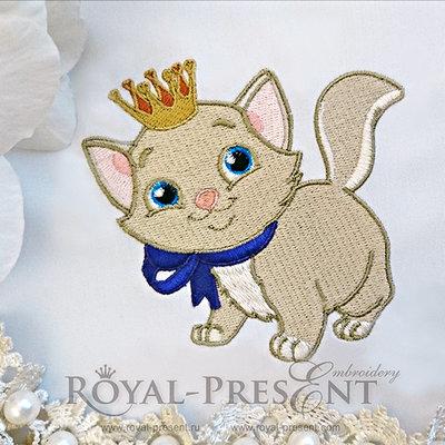 Дизайн для машинной вышивки Киска в короне
