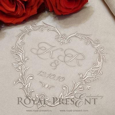 Дизайн машинной вышивки Обрамление для свадебной монограммы