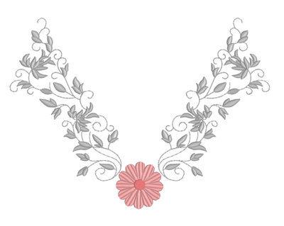Дизайн машинной вышивки Горловина с розовым цветком