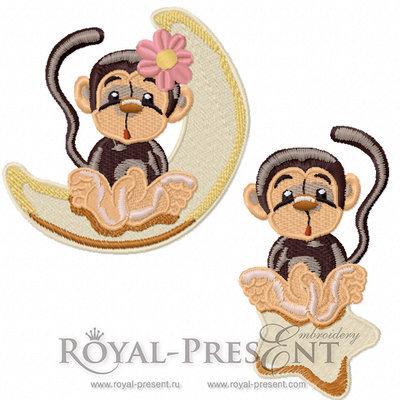 Два дизайна машинной вышивки Милые обезьянки