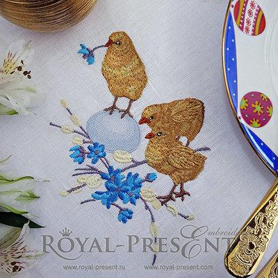 Дизайн для машинной вышивки Три Пасхальных цыпленка