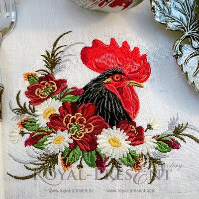 Дизайн машинной вышивки Петух в цветах - 2 размера
