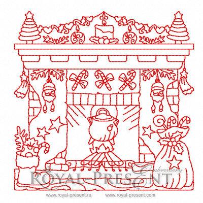 Дизайн для машинной вышивки Новогодний Камин