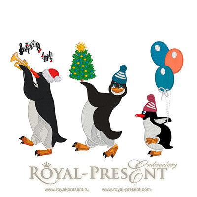 Дизайны машинной вышивки Новогодние Пингвины - 3 в 1