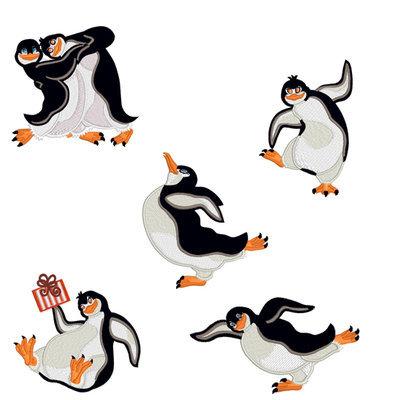 Дизайны для машинной вышивки Смешные Пингвины - 5 в 1