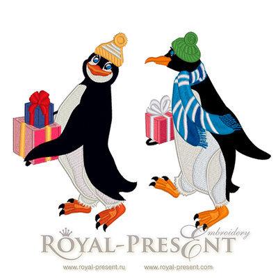 Дизайны машинной вышивки Новогодние Пингвины - 2 в 1