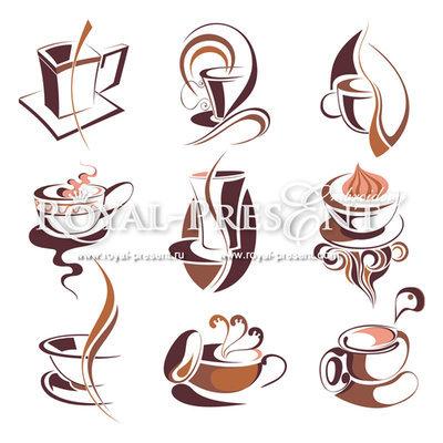9 Дизайнов машинной вышивки Кофейный сет
