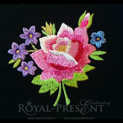 Дизайн машинной вышивки - Розовый букетик (Польский фольклор)