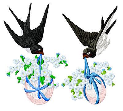 Дизайн для машинной вышивки Две Пасхальные Ласточки