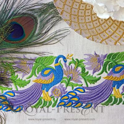 Дизайн машинной вышивки Элемент для бордюра с павлинами