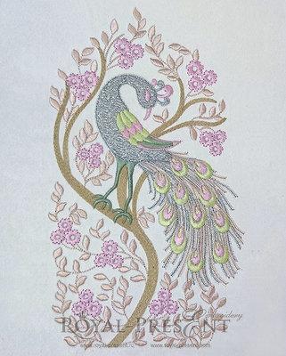 Дизайн машинной вышивки Павлин - 4 размера