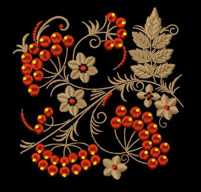 Дизайн машинной вышивки Орнамент в стиле хохлома Рябина