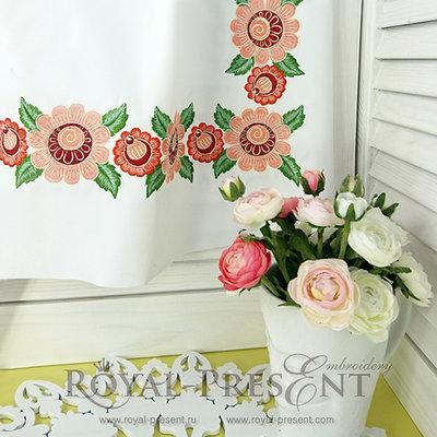 Дизайн машинной вышивки Русский фольклорный декор для бордюра