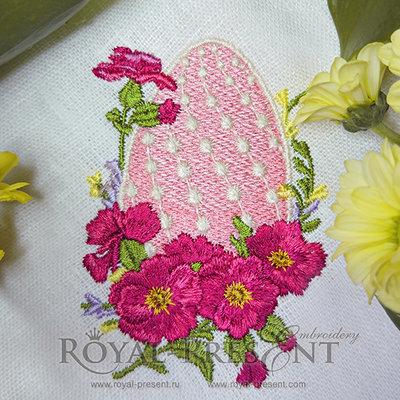 Дизайн машинной вышивки Пасхальное яйцо с мальвой