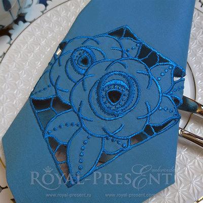 Дизайн машинной вышивки Розы ришелье угол - 2 размера