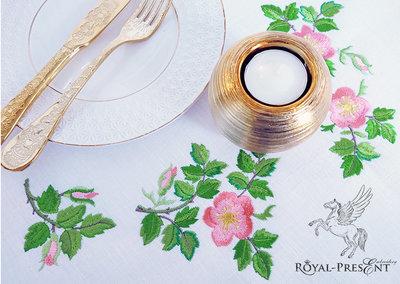 Набор из 3 дизайнов машинной вышивки Чайные Розы шиповник