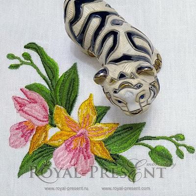 Дизайн машинной вышивки Роскошные орхидеи
