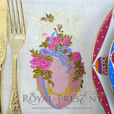 Дизайн для машинной вышивки Голуби с пасхальным яйцом