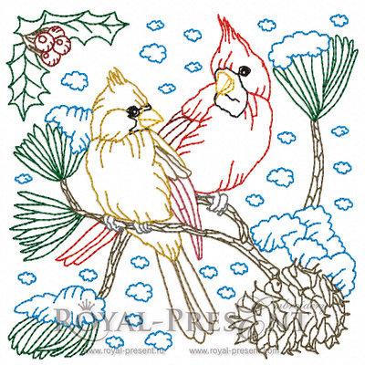 Дизайн машинной вышивки Два Снегиря