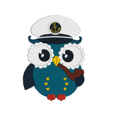 Сова Капитан Дизайн машинной вышивки