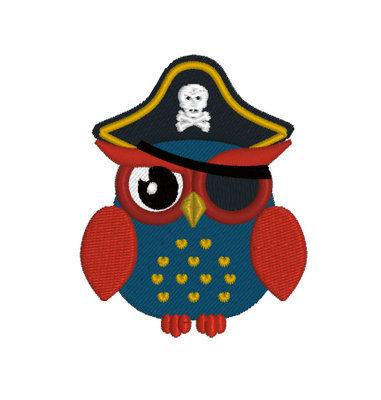 Дизайн машинной вышивки Сова Пират