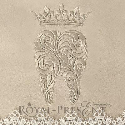 Дизайн машинной вышивки Зуб с короной - 3 размера