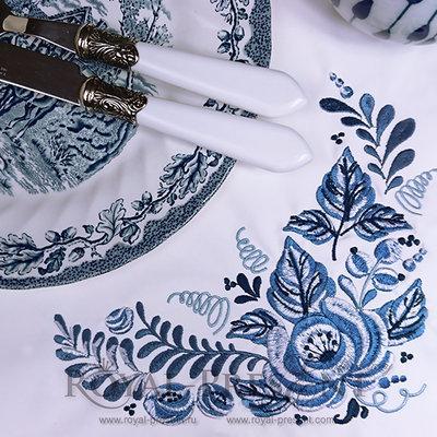 Дизайн машинной вышивки Угол Гжель