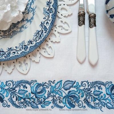Дизайн машинной вышивки Цветочный Бордюр Гжель