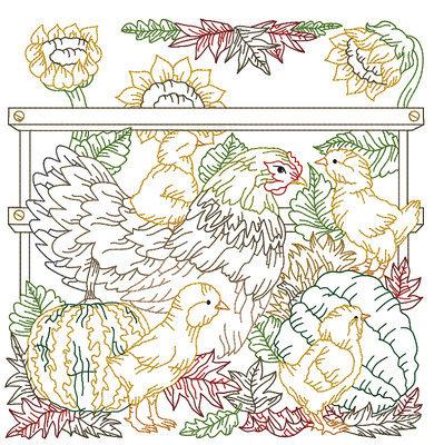 Дизайн машинной вышивки Курочка и Цыплята