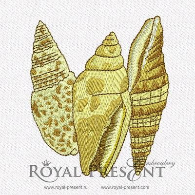Дизайн машинной вышивки Три Ракушки
