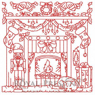 Дизайн машинной вышивки Рождественский Камин