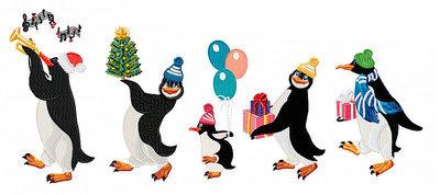 Новогодние Дизайны машинной вышивки Пингвины - 5 в 1