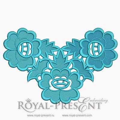 Дизайн машинной вышивки Ажурные цветы ришелье