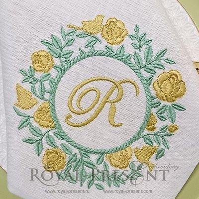 Дизайн машинной вышивки Розовый куст для монограммы - 4 размера